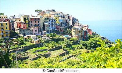 Beautiful amazing village of Corniglia in the Cinque Terre reserve. Liguria region of Italy.