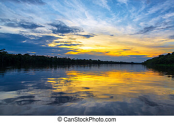 Beautiful Amazon Sunset - Spectacular sunset reflected in...