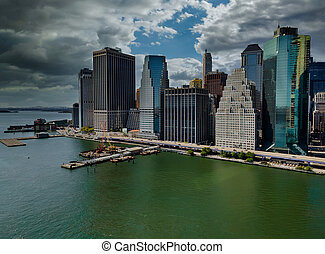 Beautiful America of aerial view on New York City Manhattan skyline panorama with skyscrapers over Hudson River