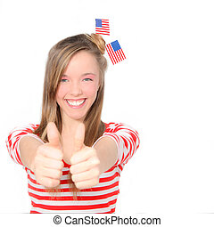beautiful American young woman celebrating 4th of july with flag