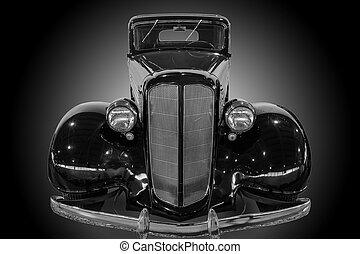 ancient American car monochrome
