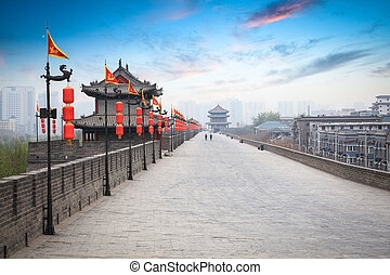 beautiful ancient city of xian at dusk - beautiful ancient...