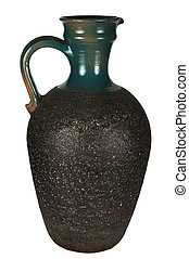 Beautiful ancient jug on a white background