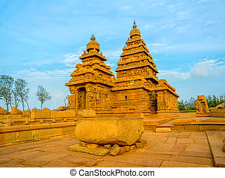 beautiful ancient monolithic famous Shore Temple near...