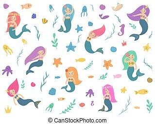 Beautiful and cute mermaids.