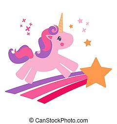 Beautiful and cute pink unicorn kid flies on a star mid blue background isolated