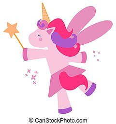 Beautiful and cute pink unicorn kid fulfills a wish with a magic wand on a purple background isolated