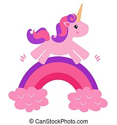 Beautiful and cute pink unicorn kid jumps on a rainbow among the stars on a white background isolated
