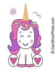 Beautiful and cute unicorn baby on a white background isolated.