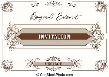Beautiful and elegant vector invitation in royal style with flourishes.eps