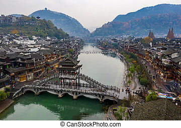Beautiful and famous ancient bridge in Fenghuang Old Town, China