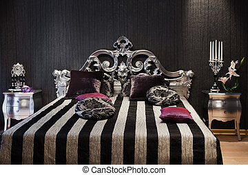 fashionable bed - beautiful and fashionable bed in a modern...
