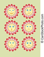 Beautiful and funny yellow smiley in a small set of sun. Vector