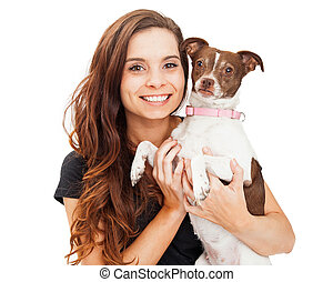 Beautiful and Happy Girl With Little Dog
