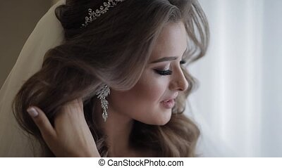Beautiful and lovely bride in night gown and veil. Wedding ...