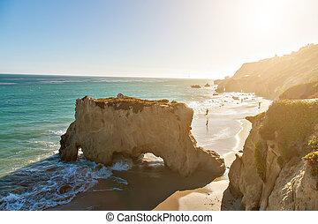 Beautiful and romantic El Matador Beach in Malibu -...