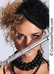 Beautiful and sexy Flautist