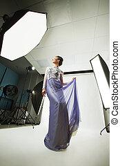model posing in Studio.