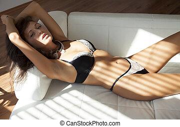 Beautiful and sexy woman wearing black lingerie - Beautiful...
