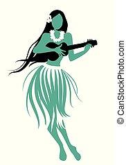 Beautiful and smiling Hawaiian girl wearing skirt of leaves playing ukulele isolated on white background. Retro style