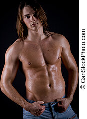 beautiful and strong young guy - young guy with long hair,...