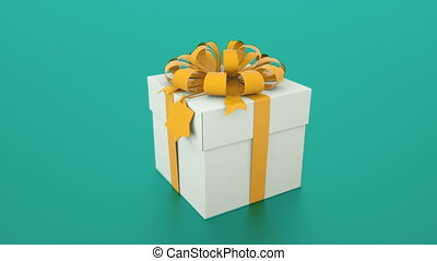 Beautiful and stylish gift box with ribbon and bow, 3d rendering background for holiday, festive, celebratory creative, computer generated