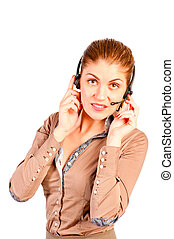 beautiful and successful consultant with headphones