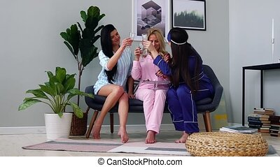 Beautiful and suxual girls in pajamas at a bachelorette...