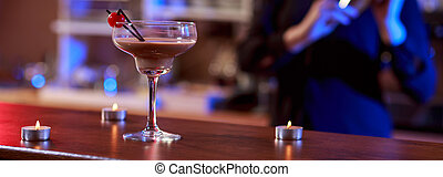 Beautiful and tasty cocktail - Bartender made a beautiful...