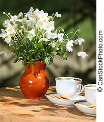 anemone - beautiful anemone bouquet and tea-drinking at the...