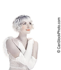 Beautiful angel girl over white background