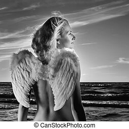 Beautiful angel in a sea at sunset time