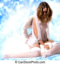 Beautiful angel in the clouds looking down