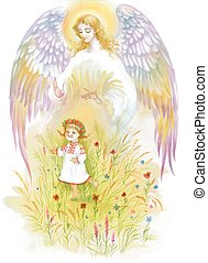 Beautiful angel with wings flying over baby girl.