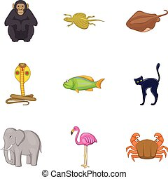 Beautiful animal icons set, cartoon style