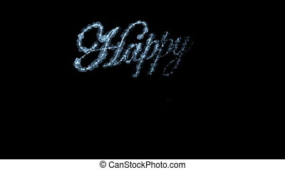 Beautiful Animation of Freezing Text Appearing on Black Window Glass. Happy New Year Theme