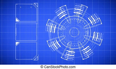 Beautiful Animation of Futuristic Blueprint Drawing. Head-up...