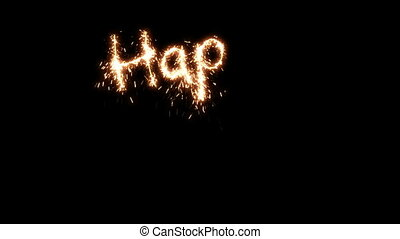 Beautiful Animation of Sparklers Text Appearing on Black. Happy New Year Theme. HD 1080.