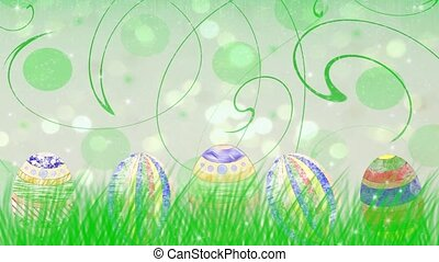 beautiful animation with Easter eggs and green grass