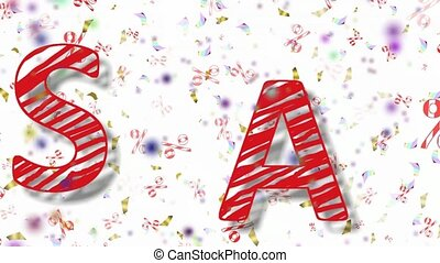 beautiful animation with red-striped letters sale on a shiny background with confetti