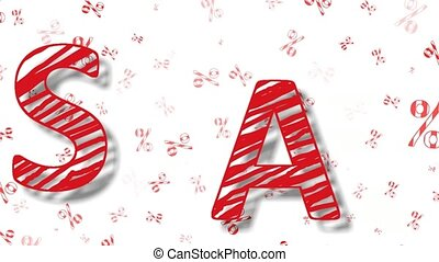 beautiful animation with red -striped letters sale