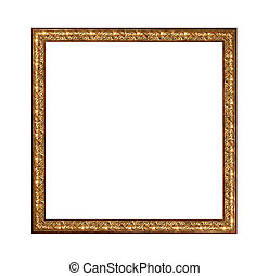 Beautiful antique carved frame isolated on white background