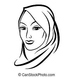 Beautiful arab muslim woman. Islamic and nationality tradition, hijab. Vector illustration