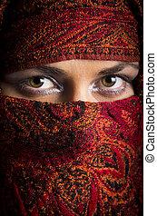 Beautiful arabian woman in color yashmak