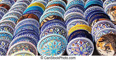 Beautiful arabic colorful pottery bowls made of mosaic vibrant glass tiles.