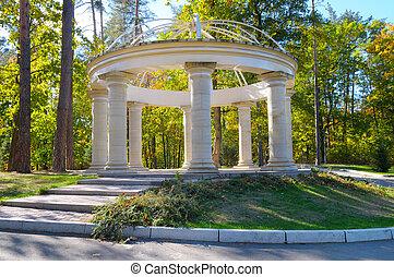 beautiful arbor in autumn park