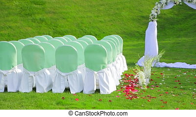 Beautiful Arch And Chairs for the Wedding Ceremony