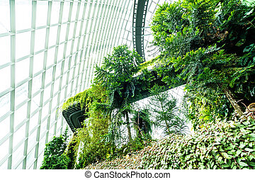 Beautiful architecture building flower dome garden and greenhouse forest for travel
