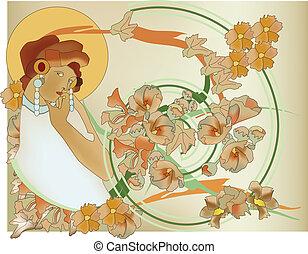 Beautiful art nouveau portrait - tribute to Mucha