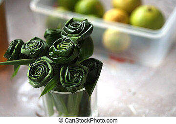 Beautiful artificial roses which produce from Panda-nus leafs